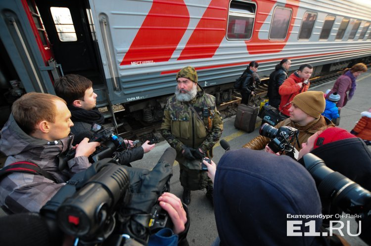"Terrorist Vladimir Efimov telling Russian media that his group of mercenaries will not fight in ""LNR"" anymore, because people there call them occupiers (Image: E1.ru)"