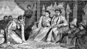 Alexander Nevsky, the ruler of Muscovy (Grand Principality of Moscow) submitting to Batu Khan, a grandson of Genghis Khan and the ruler of the Golden Horde, at the Mongol khan's court. Muscovy was a late medieval Rus' principality centered on Moscow and the predecessor state of the early modern Tsardom of Russia.