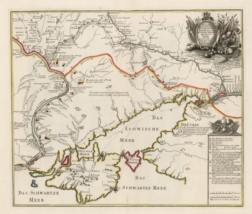 Map showing the Russian campaign of 1736 in Crimea. From Wikipedia