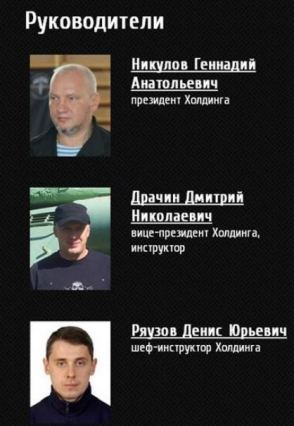 Management of 'Wolf', with Gennady Nikulov first, and Denis Ryauzov third from the top