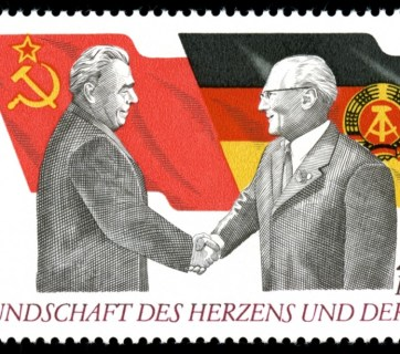 A stamp showing Brezhnev and Erich Honecker, the leader of East Germany, shaking hands. Honecker was supportive of Soviet policy in Poland. Source: wikipedia