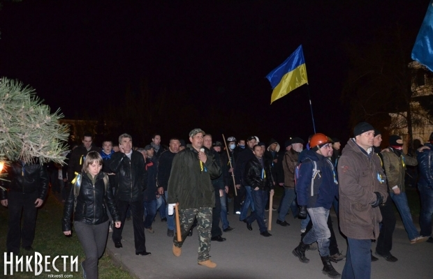 Pro-Ukrainian unity Mykolayivans disperse the separatist camp. Photo: nikvesti.com