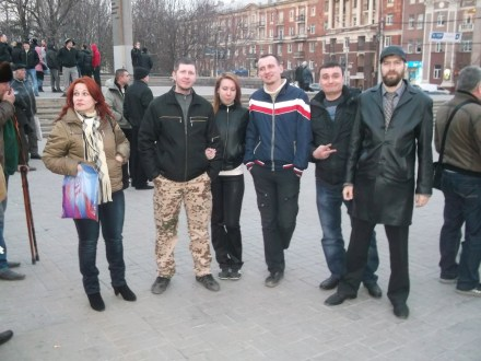 "The ""delegation"" of the Russian Imperial Movement with the activists of the ""Donetsk Republic"", Donetsk, Ukraine, 14 March 2014. Nikolay Trushchalov is on the far right"