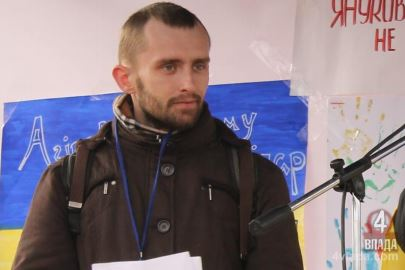 Andriy on the stage of Rivne's Maidan protests