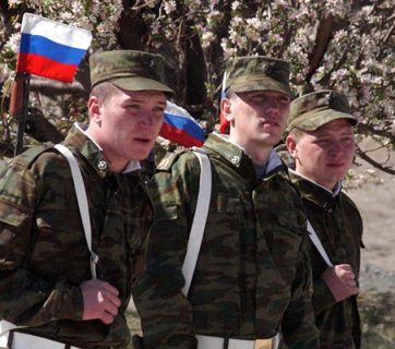 Russian soldiers stationed at a military base in Armenia (Image: armenianow.com)