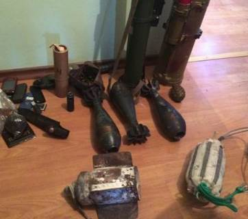 Arms cache discovered in southern Kherson Oblast in early February.