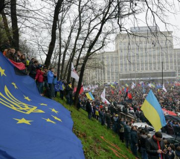 Flag of the European Union stretched during the demonstration in Kyiv, Ukraine. Photo: Flickr/Ivan Bandura