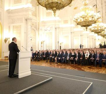 "Putin addressing his ""new nomenklatura"" government elite (Image: kremlin.ru)"