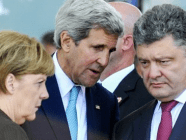 Merkel, Kerry and Poroshenko in Normandy, France