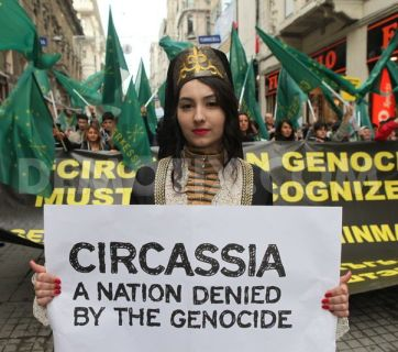 Circassians in Turkey commemorating an anniversary of the Russian genocide of their people in 1864 (Image: worldbulletin.net)