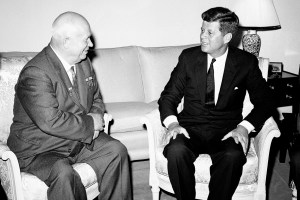 Soviet Premier Nikita Khrushchev and President John F. Kennedy talk in the residence of the U.S. Ambassador in a suburb of Vienna, part of  a series of talks during their June 1961 summit meetings in Vienna. (From the archives on the Cuban Missile Crisis. Image: AP Photo)