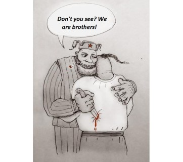 "Putin and his massive propaganda machine do not tire to repeat ""Russians and Ukrainians are brothers! Russians and Ukrainians are one people!"" even though Russia invaded Ukraine's territory, annexed Crimea, conducts a masked ""hybrid"" war against Ukraine and its people using Donbas marionettes, Russian spy networks and criminal world. In this Ukrainian cartoon, the Russian man repeats the official ""brotherhood"" propaganda, all while stabbing the Ukrainian in the back (Image: social networks)"
