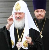 Kirill, the Moscow Patriarch of the Russian Orthodox Church, with Archpriest Vsevolod Chaplin (Image: 3rm.info)