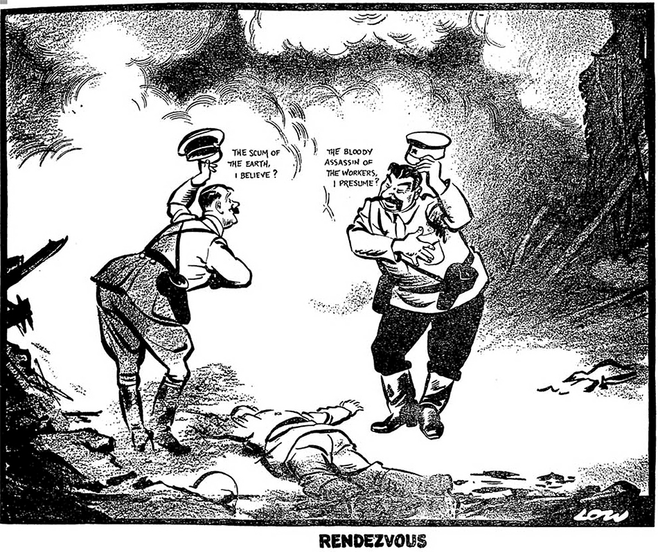 "David Low named his political cartoon describing the German-Russian invasion of Poland that started the WW2 - ""Rendezvous."" The cartoon depicts a meeting by the two allied Nazi-Soviet dictators over the corpse of a Polish defender. Hitler says to Stalin while lifting his hat and bowing: ""The Scum of the Earth, I believe?"" and Stalin responds to him ""The Bloody Assassin of the Workers, I presume?"" while bowing and lifting his in kind. The secret agreement on the division of Poland that was part of the Molotov-Ribbentrop Pact was not yet known, but nonetheless, Low recognized what happened and drew it in this work. (Image: The Evening Standard (UK), September 20, 1939 issue)"
