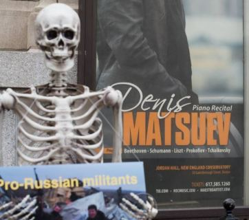 Skeletons picket the New England Conservatory. Photo: Arts Against Aggression