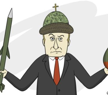 Putin with the elements of Putinism (Political cartoon by Zhenya O. / radiosvoboda.org)
