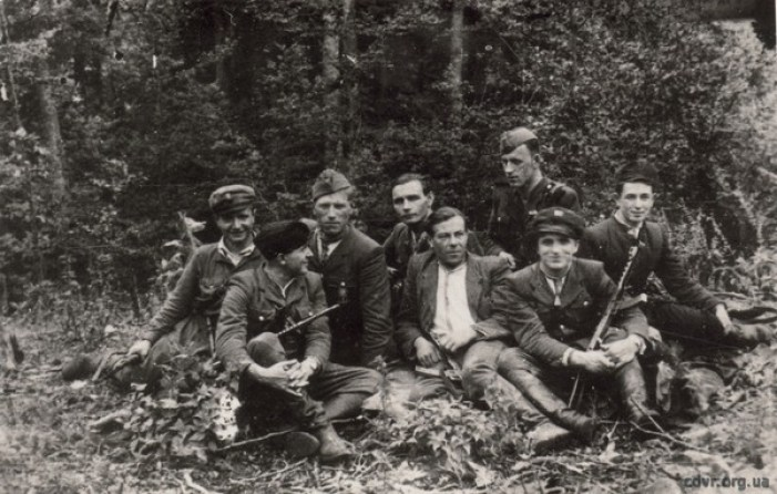 Luka Hrynishak (Dovbush) (5th from left) with UPA partisans, 1950