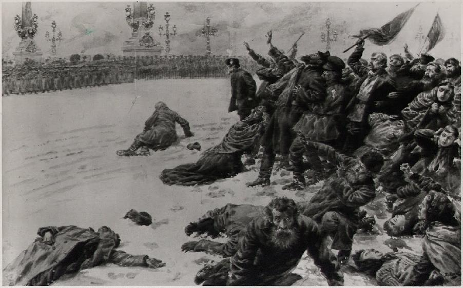 Artistic impression of Bloody Sunday in St. Petersburg, Russia (22 January, 1905), the precursor of the armed overthrow of the Provisional Government in November 1917 (the October Revolution), which started the Russian civil war and economic collapse, replacing the monarchy with a communist totalitarian regime.