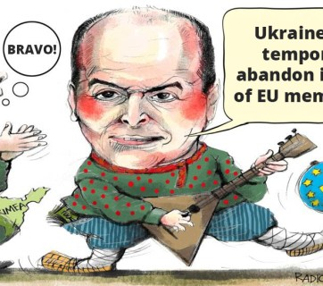 Political caricature featuring Putin and Pinchuk, by Radio Svoboda