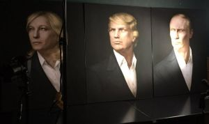 Painting of Trump, Putin and French far-right leader Marine Le Pen at Trump party in Moscow hosted by pro-Kremlin activists to celebrate his election as US president. November 2016 (Image: mogaznews.com)