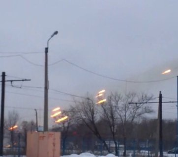 Russian forces firing Grad multiple launch rocket systems at Avdiivka from inside of residential areas of occupied Donetsk in January 2017 (Image: video capture)