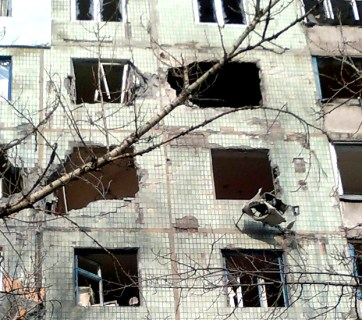 Many buildings and houses in Avdiivka damaged and destroyed as result of shelling by Russian heavy artillery. (Photo: pravda.com.ua)