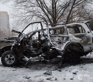 The car of Anashchenko was destroyed in an explosion in the center of Luhansk. Photo: RIA Novosti