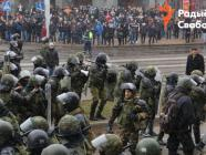 Riot police and protesters amid a rally in Minsk, Belarus on March 25. Credit: Radio Liberty