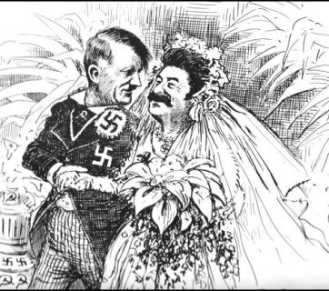 """Woner how long the honeymoon will last?"" American cartoon deriding Nazi-Soviet alliance, October 1939"