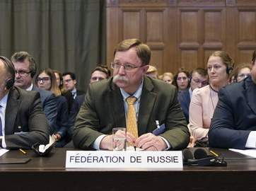 Agents of Russia at the International Court of Justice during the hearings. Photo: ICJ