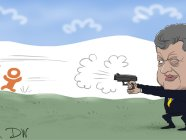 President Poroshenko shooting on logos of Yandex and Odnoklasniki . Cartoon: Sergey Elkin for the Deutsche Welle.