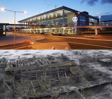 The new terminal of Donetsk Airport in 2012 and in January 2015. Collage: twitter balticfrequency