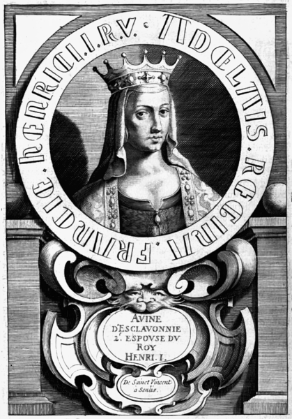 """Slovian Anne, the second wife of King Henry I."" A portrait of Anne of Kyiv based on the murals of the monastery of St. Invent in Sanlis"