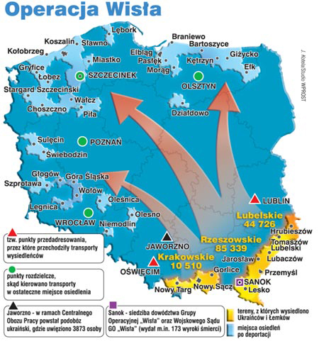 A map showing the Polish regions to where the Ukrainian population was deported to