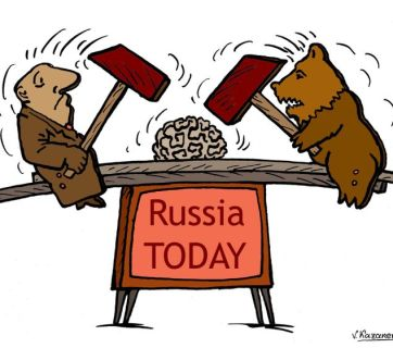 Kremlin propaganda can end with brain concussion, the unhappy story of a Russian TV whistleblower again shows. Cartoon by Vladimir Kazanevsky