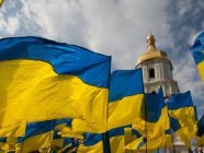 Ukrainian flags on the square in front of the St.Sophia cathedral in Kyiv