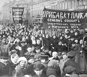 One of the popular protests in St. Petersburg demanding larger food rations for families of soldiers that ignited the February 1917 revolution in the Russian Empire (Image: Wikimedia)