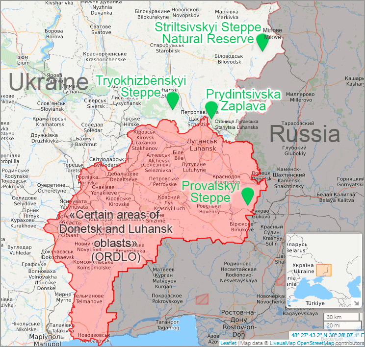 steppe marmot in luhansk. Luhansk Nature Reserve. Map: Euromaidan Press, based on LiveUAMap