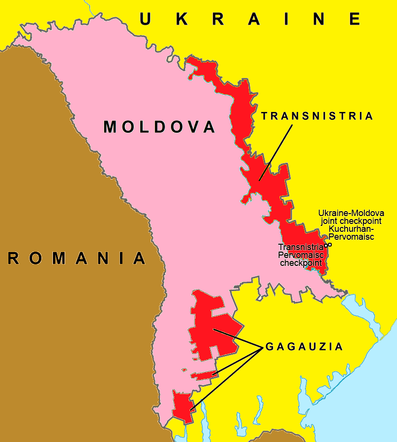 Map of Moldova bordering Ukraine and Romania. Zones of a frozen conflict in Transnistria/Transdniestria and resolved conflict in Gagauzia in red.