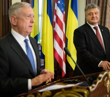 James Mattis and Petro Poroshenko at a joint press conference in Kyiv on 24 August 2017. Photo: president.gov.ua