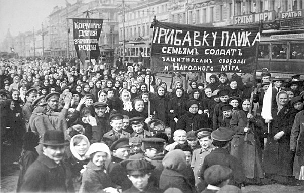 Demonstrations of 36,000 female workers of the Putilov factory of St.Petersburg on 23 February 1917 (8 March by the Old Style calendar) sparked the February revolution of 1917 which took down the Russian empire