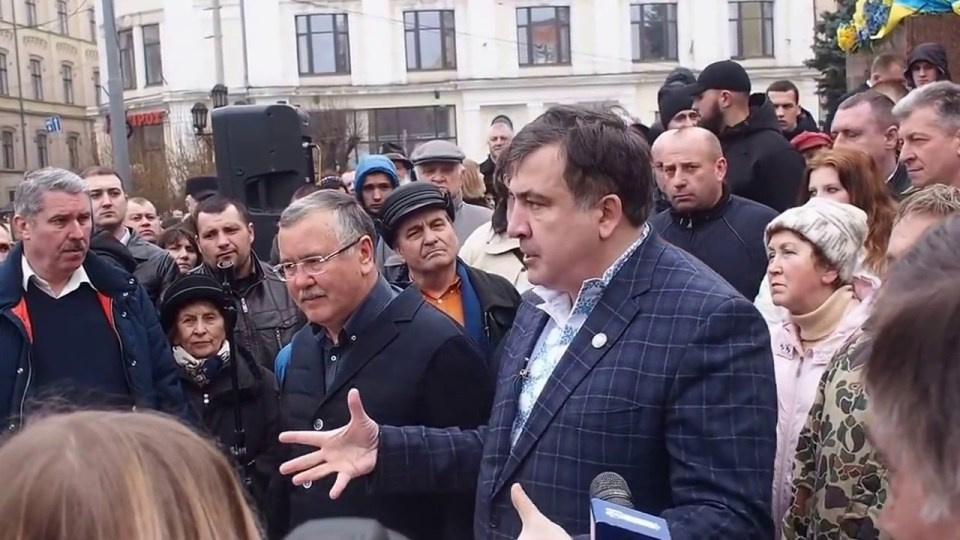 Saakashvili and Hrytsenko in Chernivtsi, 9 March 2017. Photo: screenshot from video