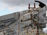 World War II memorial on the Savur-Mohyla height in Russian-occupied part of Donbas, Ukraine, damaged during the fighting of 2014