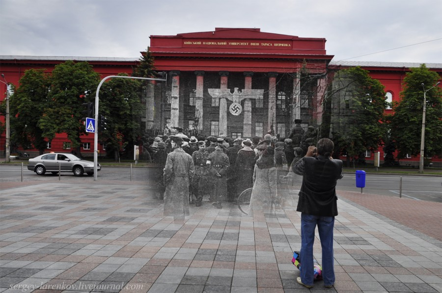 Kyiv 1942/2012 May Day rally staged by the Nazis. Collage: Sergey Larenkov (Livejournal)