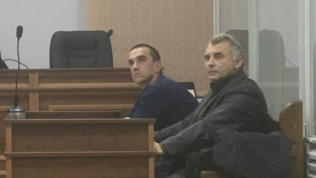 Former Berkut officer and now an employee of the National Police of Ukraine Ruslan Marchuk (left) admits that he was on the Maidan that night, but claims that he did not commit any unlawful actions