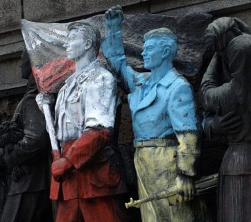 A monument to the Soviet Army in Sofia, Bulgaria, has been subjected to multiple cases of graffitti. This one pictures soldiers painted over in the colors of the Polish and Ukrainian flags. Photo: weburbanist.com, March 2014