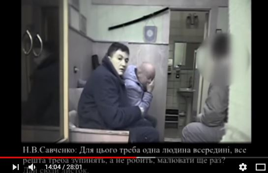 Screengrab from the video showing Savchenko