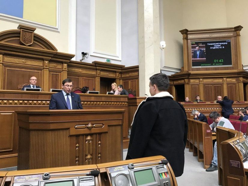 Ukrainian Prosecutor General Yuriy Lutsenko reads the accusation to Nadiya Savchenko in the Verkhovna Rada on 22 March. Photo: Фото: twitter.com/Leshchenkos