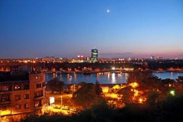 sunset over Belgrade