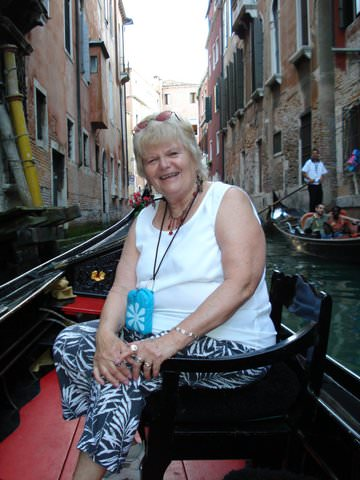 Ruth relaxing in a gondola